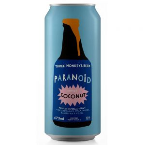Cerveja Three Monkeys Paranoid About Coconut RIS Lata 473 ml