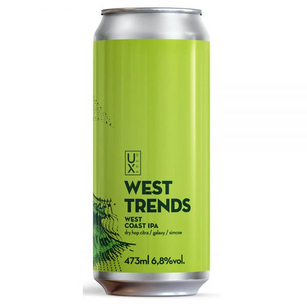 Cerveja Ux Brew West Trends West Coast IPA Lata 473 ml